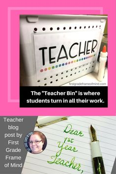"My first year teaching, I found that having a Teacher bin was very helpful. It's just a deep bin that can hold papers and folders, and clearly labeled with the word ""TEACHER"". Students first instinct is to want to bring things directly to you or leave them on your desk when they're finished with their work. At the beginning of the year, I introduce my Teacher bin, and I show them it is clearly marked with the word ""TEACHER"", and students quickly learn to drop things in there when they're…"