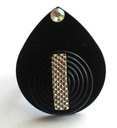 Guitar Pick Ring w/ Vintage Button And Swarovski Crystal