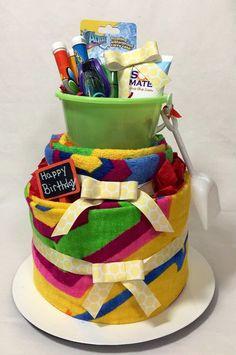 Birthday Beach Towel Cake Centerpiece Gift by SpotlightDesignCo