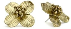 "Napier ""Vintage Find"" Worn Gold-Tone Dogwood Flower Earrings Napier. $20.00. Made in CN. Made in China"