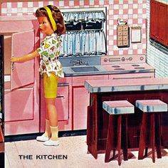 Tammy doll in cardboard kitchen by Ideal from the Sears Christmas Catalog, 1963