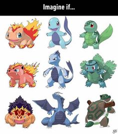 Magmasaur, Aquazard and grasstoise. I WANT AQUAZARD