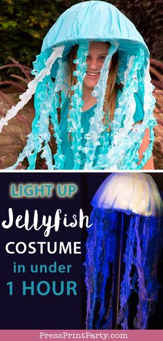 JELLYFISH COSTUME DIY: Learn how to make this light up jellyfish costume with a hat and plastic sheets. Use LED lights to create a glowing top. No need for a bluky umbrella. Great and easy ideas for Halloween. Cute and perfect for teens or adults. by Press Print Party! #jellyfish #halloween #halloweencostume