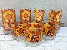 Eclectic  Drinking Glasses - Mid-Century Modern. $19.00, via Etsy.