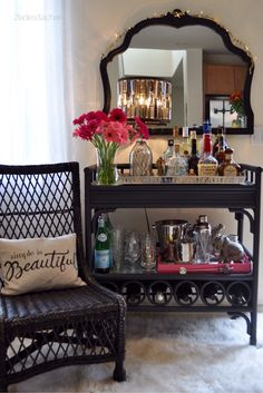 Get ready for entertaining! This bar cart is loaded and ready to roll! Shop at HomeGoods for all your bar cart needs. They have fabulous glassware for all your cocktail needs. High balls, stemware or double old fashions. Look at their collection of shakers too! And don't forget a simple vase for fresh flowers! Sponsored by HomeGoods
