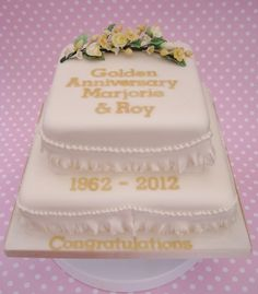 50th Golden Wedding Cake - Flowers all hand made with flower paste and wired together