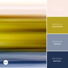 Color Combinations: Decadent Haze. Try this elegant palette in your next design! #FAE9E3 #B7A121 #8491A7 #213454