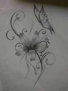 Cute flower and butterfly tattoo