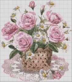 Gallery.ru / Фото #2 - FLORES 22 - marilyn2 / bukiet róż i margaretek  koszyku 3/3 Cute Cross Stitch, Cross Stitch Rose, Cross Stitch Flowers, Stitch 2, Cross Stitch Charts, Cross Stitch Patterns, Vintage Embroidery, Beaded Embroidery, Cross Stitch Embroidery
