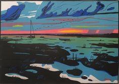 Colin Moore : Blakeney Marshes | lino print