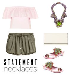 """""""Sweet and chic."""" by dimples351 ❤ liked on Polyvore featuring Kirsty Ward, Topshop, Spring Step, Valextra and statementnecklaces"""