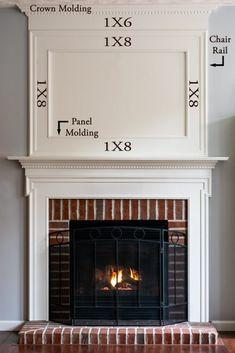 Fireplace Molding, Tv Above Fireplace, Build A Fireplace, Fireplace Update, Brick Fireplace Makeover, Farmhouse Fireplace, Faux Fireplace, Fireplace Remodel, Fireplace Surrounds