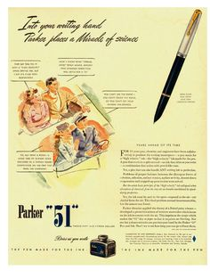 Parker 51 - 1942. The Parker 51 Pen range was launched in 1941 and won countless design awards for its cigar-shaped design and hooded nib. Demand outstripped supply for many a year.