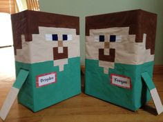 "Minecraft ""Steve"" valentines boxes"