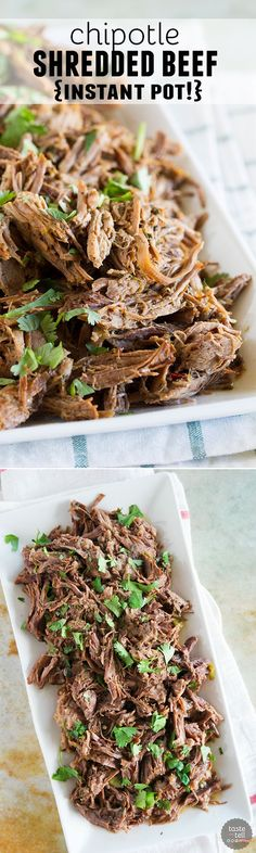 Tender and flavorful, this pressure cooker Chipotle Shredded Beef has just the right amount of spice and is perfect for tacos or burritos. And you can't beat the cooking time!: