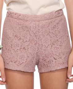 these shorts are sooo cuteee Pink Beige, Dusty Pink, Floral Lace, Pretty In Pink, Lace Shorts, Short Dresses, Pants For Women, Forever 21, Super Cute