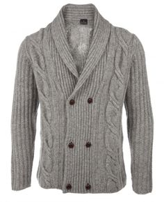 Stay warm in the cold with this double breasted cardigan from Paul Smith. A thick cable-knit cardigan made of soft grey wool, the cardigan features leather buttons, and is sure to become a winter favorite. Best when paired with some thick socks, a cold…