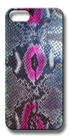 Valenz Handmade Embossed Pink/Blue/Grey Snake Leather iPhone Case