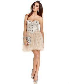 Xscape Dress, Strapless Beaded Ruffled - Juniors Prom Shop - Macy's