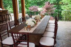 White floral with mercury candles creating a tablescape for a wedding at a private residence Floral and Decor by Southern Event Planners Outdoor Furniture Sets, Outdoor Decor, Tablescapes, Centerpieces, Dining Table, Event Planners, Candles, Mercury, Floral