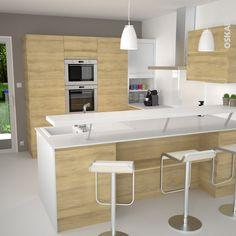 Cuisine en bois clair structuré STILO Noyer blanchi | Interiors