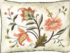 Rare Williams Jacobean Crewel Embroidery Kit Canterbury Pillow Vintage Rare Needlework Kits - Contemporary Stitchery Crafts