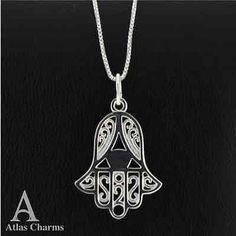 "Hand of Fatima Hamsa Sterling Silver Necklace Pendant Chain18"" Jewellery Khamsa"