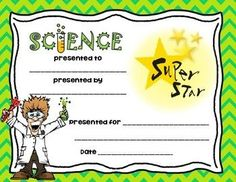 Present this bright and colorful Science Super Star Award to your students and watch them light up with pride. Created for elementary through junior high schoolers. Visit Jodi's Jewels today!