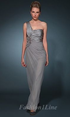 silver bridesmaid dresses could add flair to the blue color theme