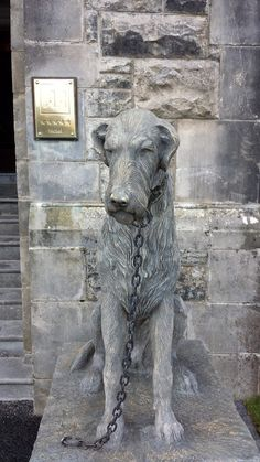 One of two Irish Wolfhound statues which stand on guard outside the main door of Ashford Castle, Cong, Co. Mayo, Ireland