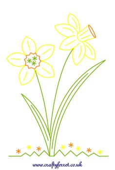 Stitching on card embroidery spring Daffodil download pattern.