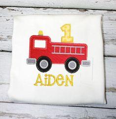 Boys Firetruck Birthday Shirt,Boys Birthday Shirt,Appliqué Embroiderer Shirt