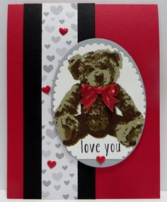 Stampin' Up Baby Bear Love card created by Lynn Gauthier using SU's Baby Bear Stamp Set, Layering Ovals Framelits Dies and A Little Foxy Designer Series Paper. Go to http://lynnslocker.blogspot.com/2016/08/stampin-up-baby-bear-little-foxy-iv.html to see how this card was made.