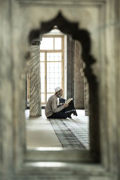 "He sits alone in a mosque, enjoy in the words of Allah, whilst all around him scores of Angels pray for him, albeit unseen ~~ ""The Prayer"" by Philippe CAP on Muslim Pray, Islam Muslim, Islam Quran, Quran Pak, Islam Religion, Islamic Images, Islamic Pictures, Islamic Art, Quran Wallpaper"