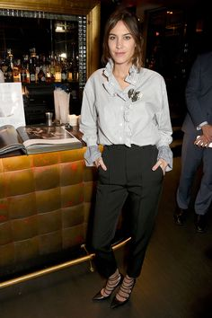 Alexa Chung joined Vogue editor-in-chief Alexandra Shulman at The Arts Club London wearing a Burberry shirt - Vogue: Voice of a Century - 30 January 2017