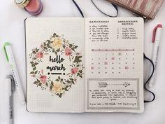 march - month spread // floral wreath cover / calendar etc. #love #bujo #inspo