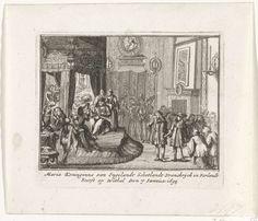 Anonymous   Dood van koningin Maria II Stuart, 1695, Anonymous, Cornelis Danckerts (II), unknown, 1711   Doodsbed van koningin Maria II Stuart, overleden op 7 januari 1695 in het paleis van Whitehall. Onderdeel van een serie over de lotgevallen van het Engelse koningshuis van Stuart van 1558-1711, waarvan hier zijn opgenomen zestien prenten over de strijd tussen Jacobus II en Willem III in de jaren 1688-1689.