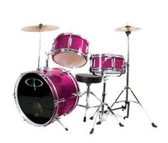 GP Percussion GP50MPK Complete Junior Drum Set (Pink, 3-Piece Set) by GP Percussion. $146.22. Black, ported drum head on 16 IN x 11 IN, 6-Lug, Bass Drum. 10 IN x 6 IN, 5-Lug Tom-Tom with Holder. 10 IN x 5 IN, 5-Lug, snare with stand. 10 IN Cymbal with Holder. Junior Hi-Hat Cymbal with stand. Bass Drum Pedal. Junior Drummer's Throne. Drum Key. Drum Sticks.  Assembly Required, Instructions Included. No additional tools necessary. Overall Size: 36 IN L x 36 IN W x 36...
