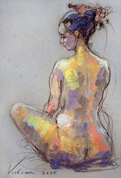 Pensive 7 - Painting,  40x60 cm ©2010 by Raluca Vulcan -  Painting