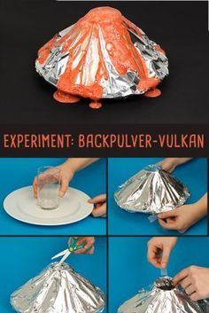 Backpulver-Vulkan mit Alufolie