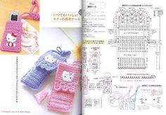 Hello Kitty cell phone holder with diagram