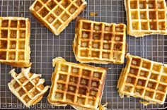 These Belgian waffles are crunchy on the outside, light and fluffy on the inside, and the beautiful, rich buttermilk flavor kicks Bisquick's butt any day. Powdered Buttermilk, Waffle Machine, Belgian Waffles, Bisquick, Waffle Iron, Waffle Recipes, Oven Racks, Baking Soda