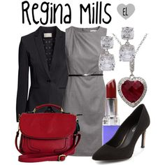 Regina Mills -- Once Upon a Time by evil-laugh on Polyvore featuring H&M, Rimmel, onceuponatime, ouat, reginamills and storybrooke
