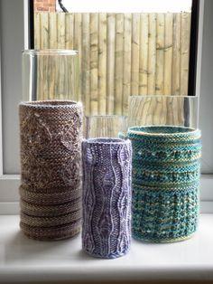 3 knitted vase covers designed for Homemaker Magazine issue 8, using Louisa Harding Grace yarn
