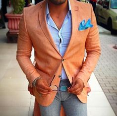 Orange jacket and blue jeans make a nice combination. #Fashion #Streetstyle #Casual #Sportswear #Menfashion #Menstyle #Class #Lookcool #Casualstyle #Trendy #Elegance #Menstyle #Luxury #Style #Street #Trendy #Dandy #Moda #Classy #Awesome #Stylishmen #Cool #Likeit #Dailylook #Sprezzatura