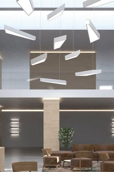 Collection from Axolight consisting of suspended lamps and ceiling lamps in white aluminium. Available in several sizes. Built-in dimmable LED light source