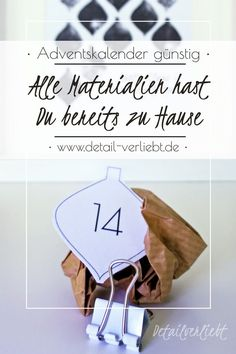 I like to make my advent calendar myself. This advent calendar for Christmas is made fast and costs Diy Weihnachten, Advent Calendar, Christmas Crafts, Bella Diva, Cards, Inspiration, Free, Last Minute Gifts, Stocking Stuffers