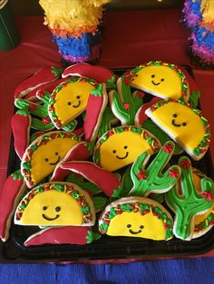 Fiesta cookies, taco, cactus, and chili peppers. Party Fiesta, Taco Party, 2nd Birthday Parties, Boy Birthday, Birthday Ideas, Dragons Love Tacos, Cookies Et Biscuits, Sugar Cookies, Mexican Party