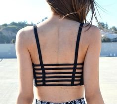 Black Caged Cut Out Crop Top