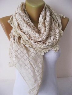 Elegant Scarf  Beige scarf-Cowl with Lace Edge Fashion